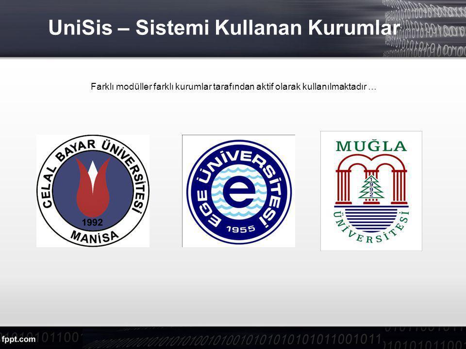 UniSis – Sistemi Kullanan Kurumlar
