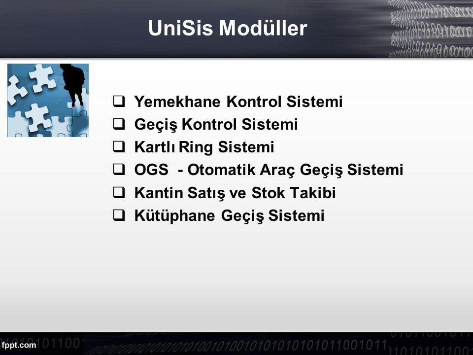 UniSis Modüller Yemekhane Kontrol Sistemi Geçiş Kontrol Sistemi