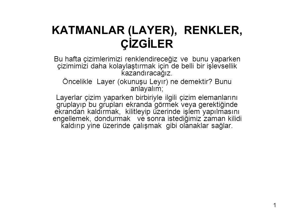 KATMANLAR (LAYER), RENKLER, ÇİZGİLER