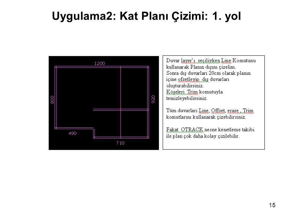 Uygulama2: Kat Planı Çizimi: 1. yol