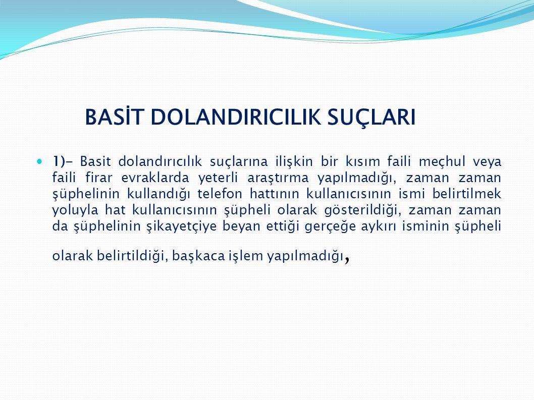 BASİT DOLANDIRICILIK SUÇLARI