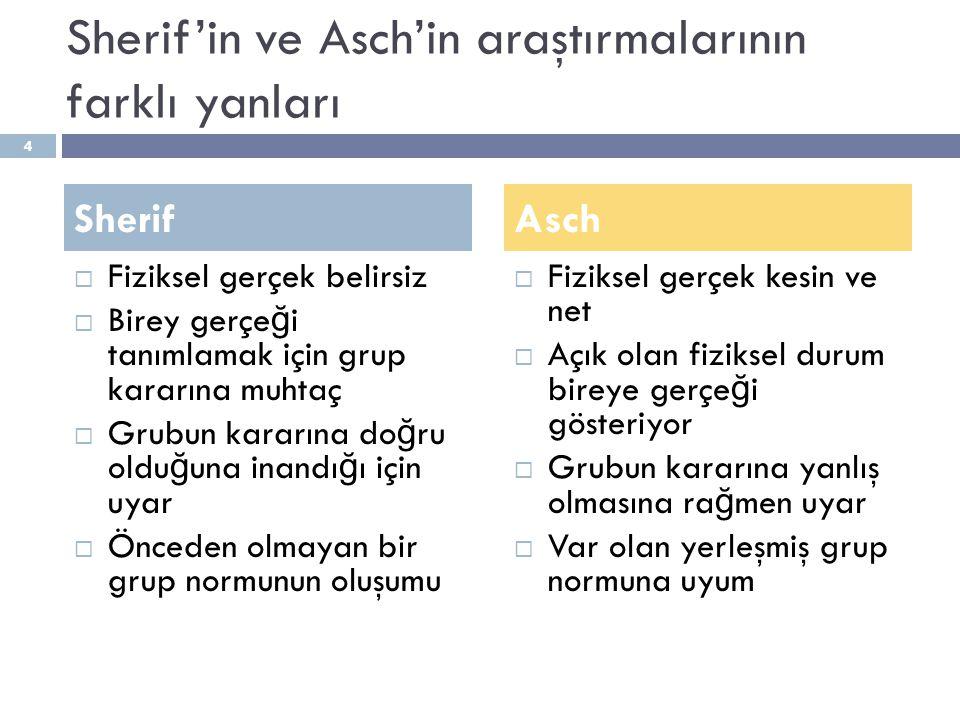 Sherif'in ve Asch'in araştırmalarının farklı yanları