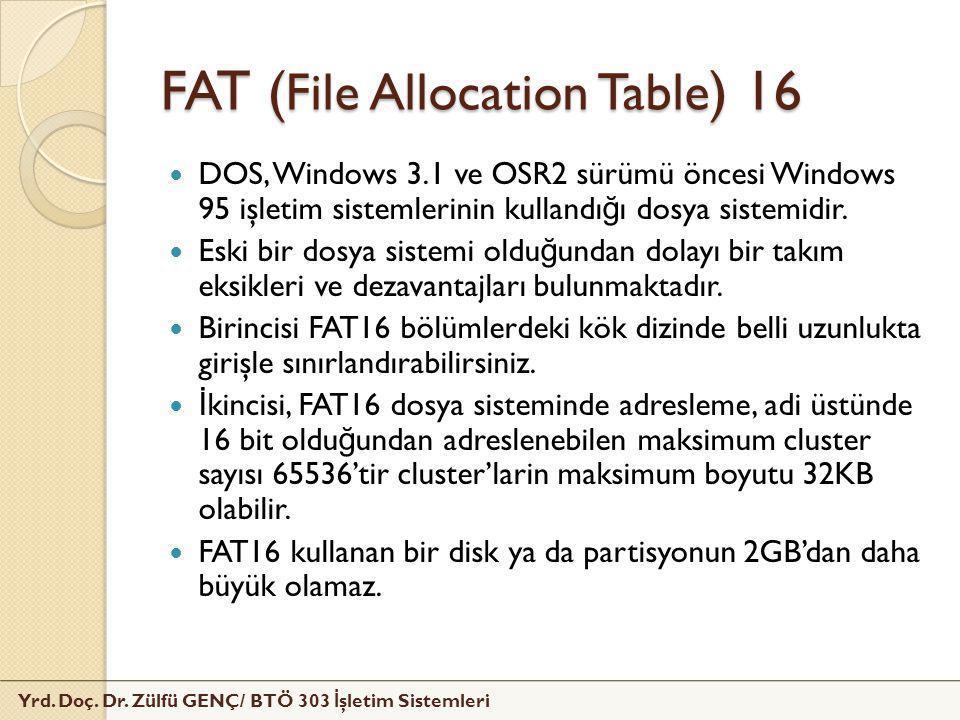 FAT (File Allocation Table) 16