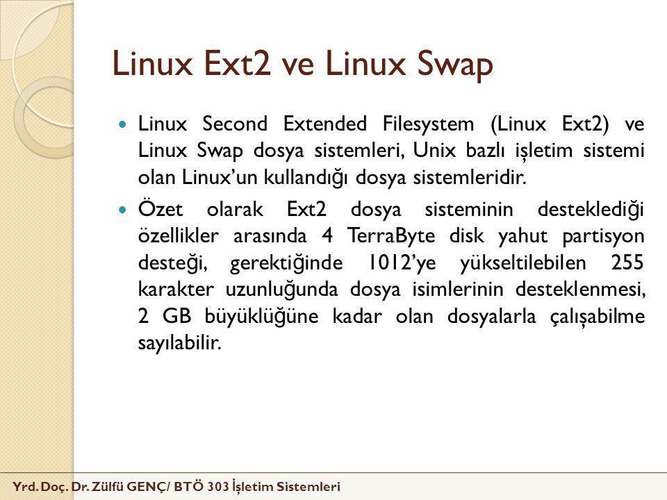 Linux Ext2 ve Linux Swap