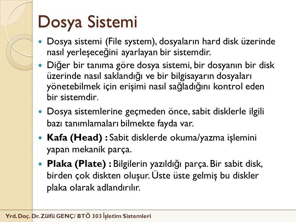 Dosya Sistemi Dosya sistemi (File system), dosyaların hard disk üzerinde nasıl yerleşeceğini ayarlayan bir sistemdir.