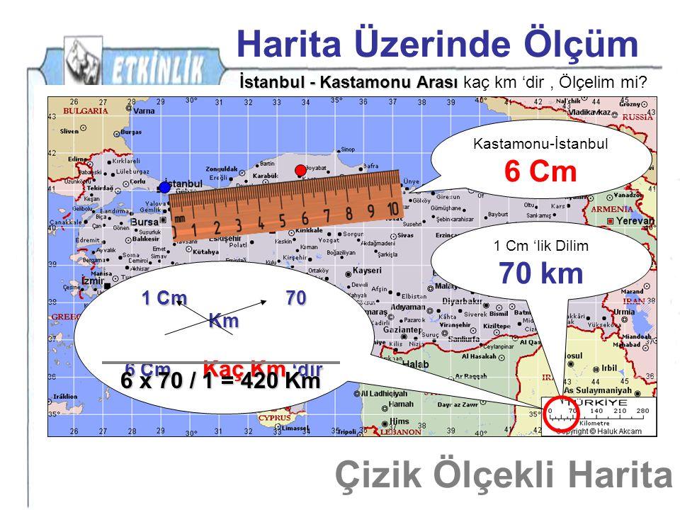 Harita Üzerinde Ölçüm Çizik Ölçekli Harita 6 Cm 70 km