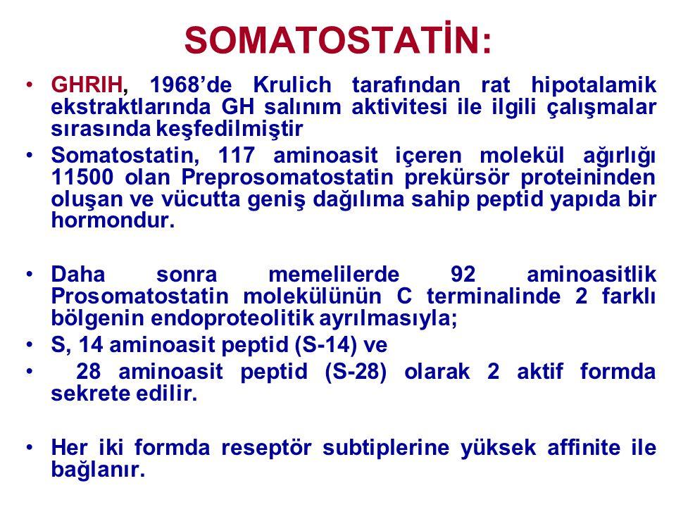 SOMATOSTATİN: GHRIH, 1968'de Krulich tarafından rat hipotalamik ekstraktlarında GH salınım aktivitesi ile ilgili çalışmalar sırasında keşfedilmiştir.