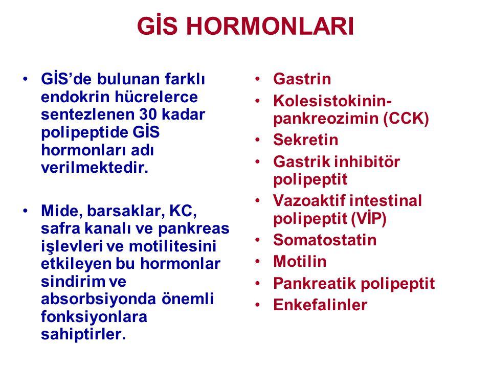 GİS HORMONLARI GİS'de bulunan farklı endokrin hücrelerce sentezlenen 30 kadar polipeptide GİS hormonları adı verilmektedir.