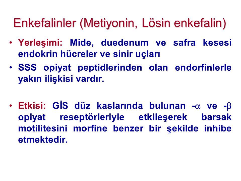 Enkefalinler (Metiyonin, Lösin enkefalin)