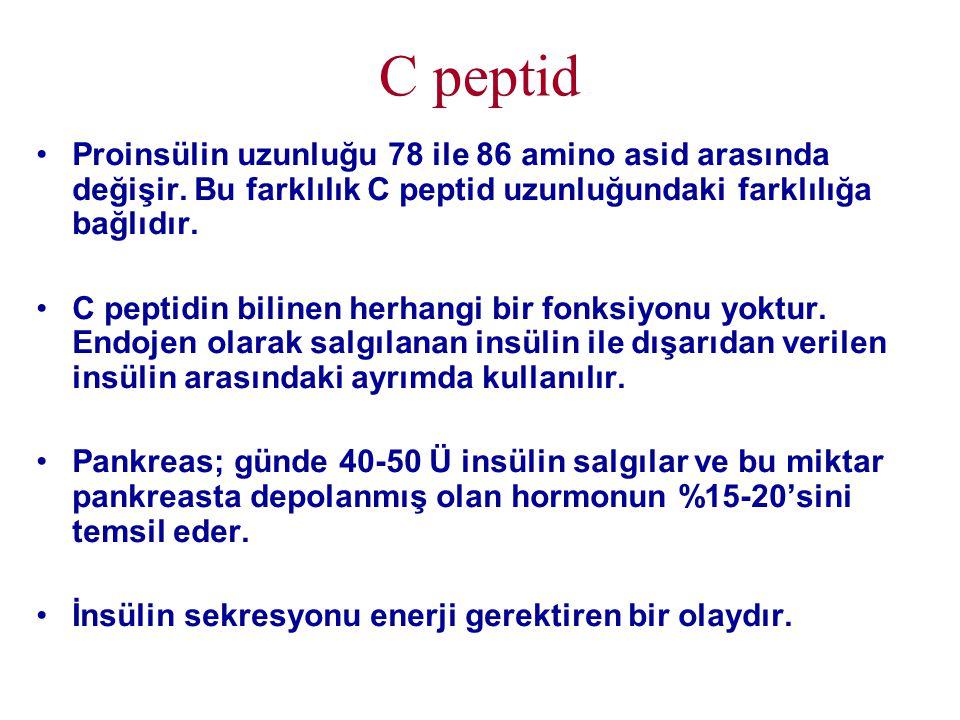 C peptid Proinsülin uzunluğu 78 ile 86 amino asid arasında değişir. Bu farklılık C peptid uzunluğundaki farklılığa bağlıdır.