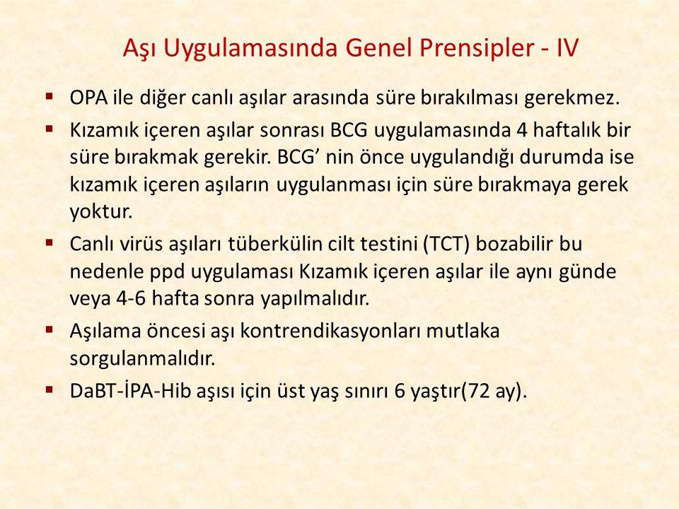 Aşı Uygulamasında Genel Prensipler - IV