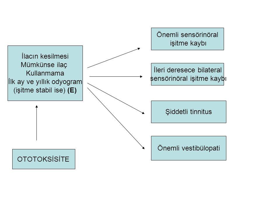 İlk ay ve yıllık odyogram (işitme stabil ise) (E)