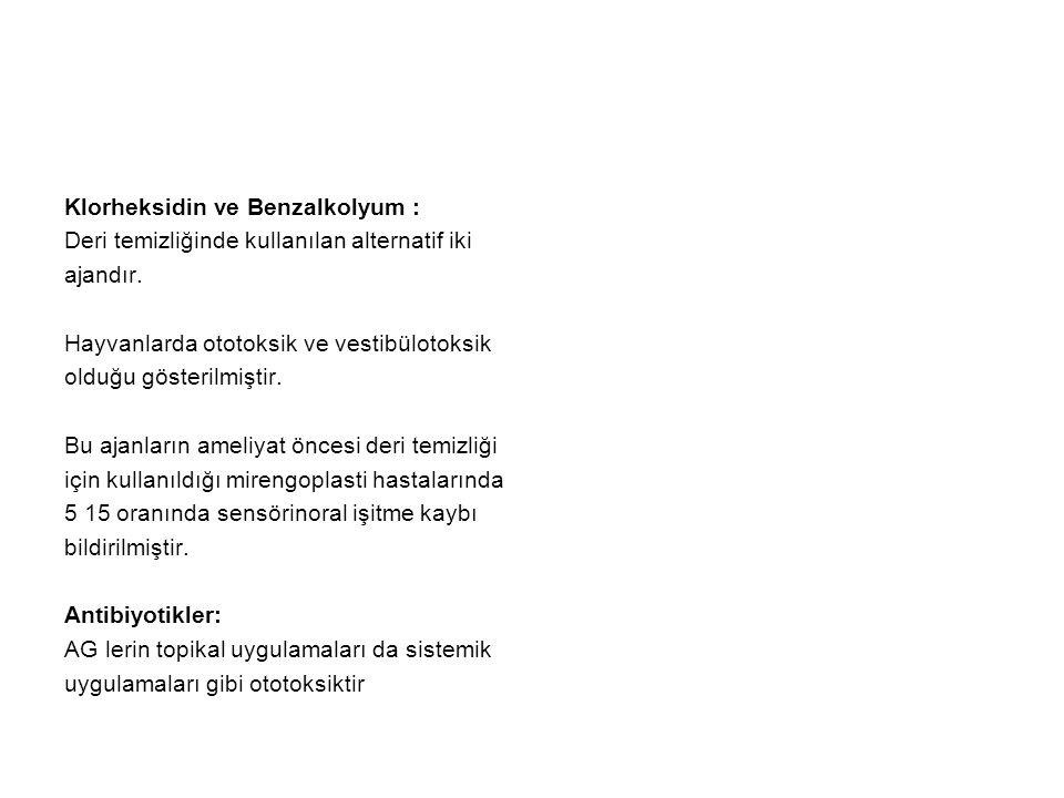 Klorheksidin ve Benzalkolyum :