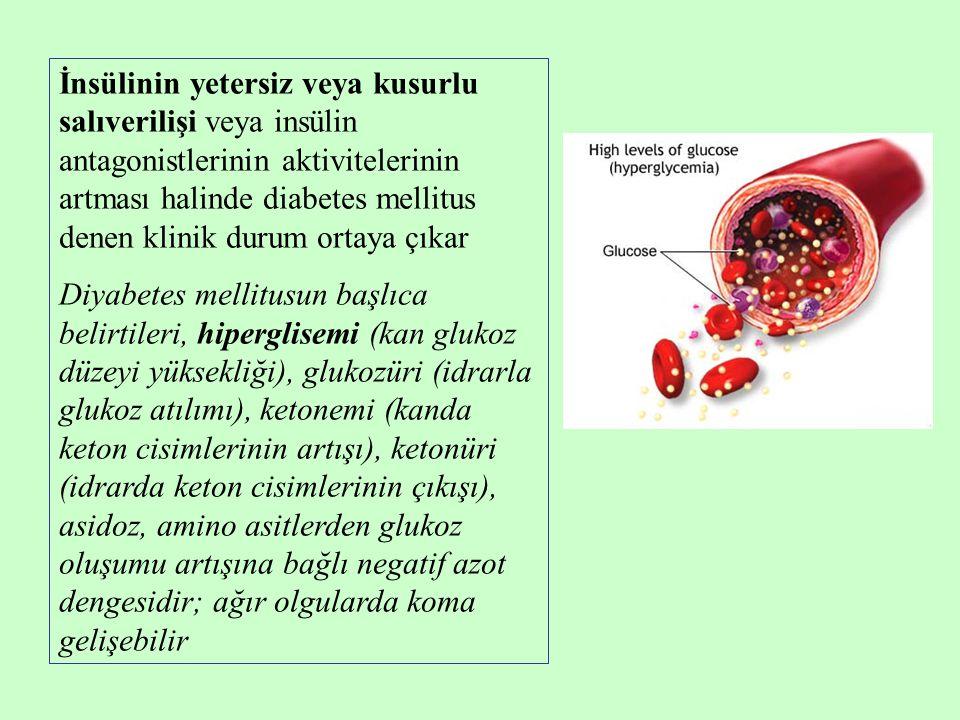 İnsülinin yetersiz veya kusurlu salıverilişi veya insülin antagonistlerinin aktivitelerinin artması halinde diabetes mellitus denen klinik durum ortaya çıkar