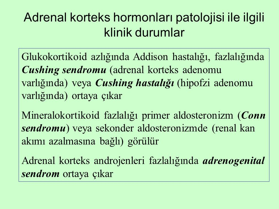 Adrenal korteks hormonları patolojisi ile ilgili klinik durumlar