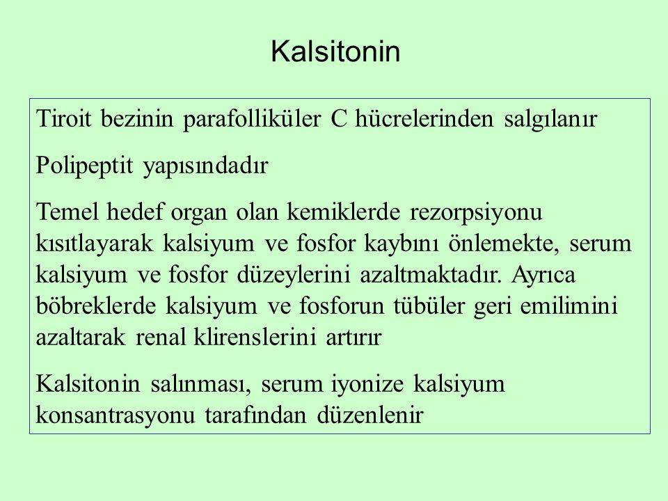 Kalsitonin Tiroit bezinin parafolliküler C hücrelerinden salgılanır