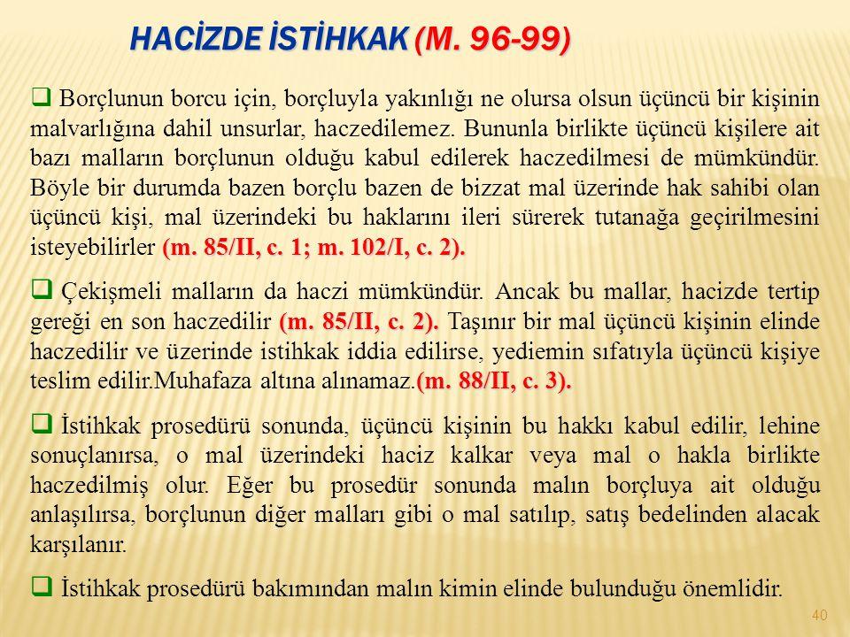 HACİZDE İSTİHKAK (m. 96-99)