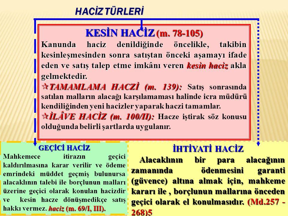 HACİZ TÜRLERİ KESİN HACİZ (m. 78-105)