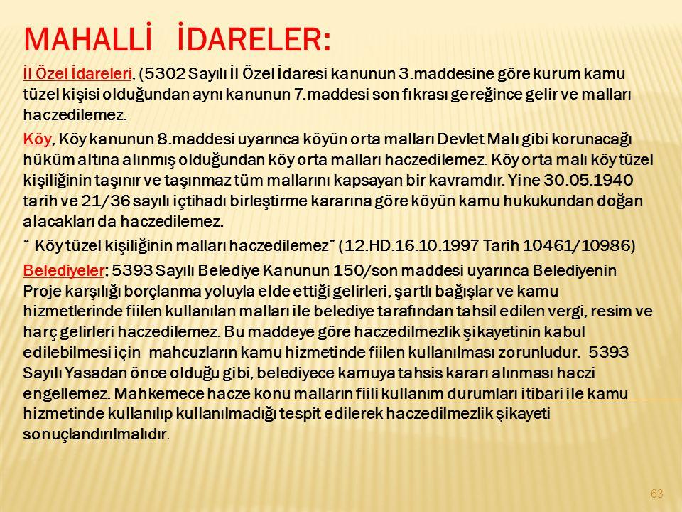 MAHALLİ İDARELER: