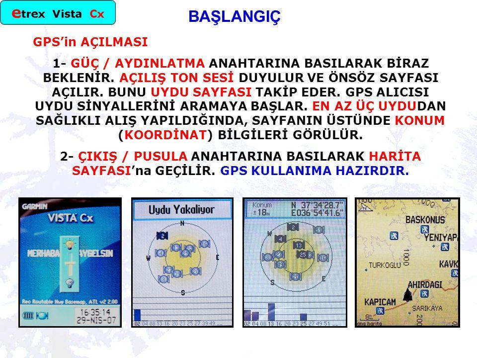 BAŞLANGIÇ GPS'in AÇILMASI