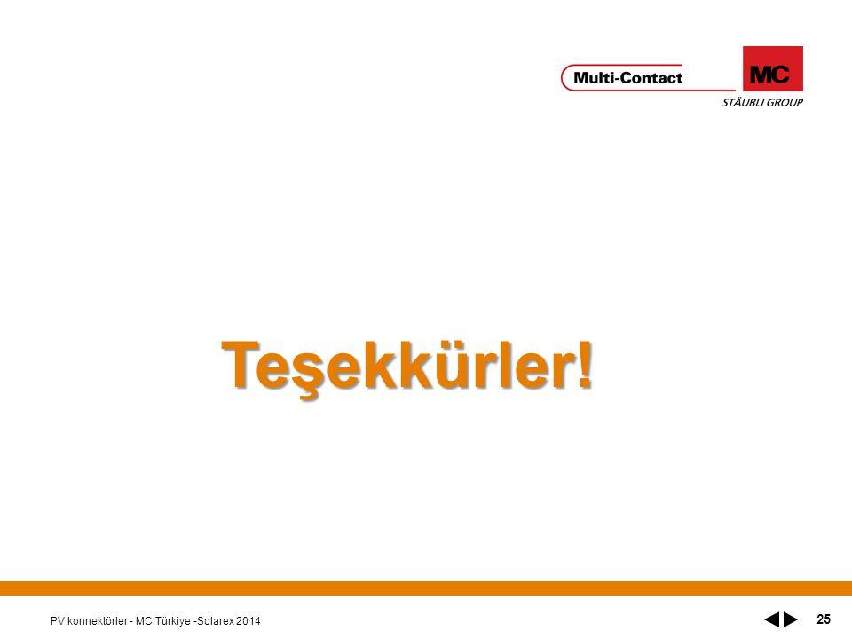 Teşekkürler! PV konnektörler - MC Türkiye -Solarex 2014