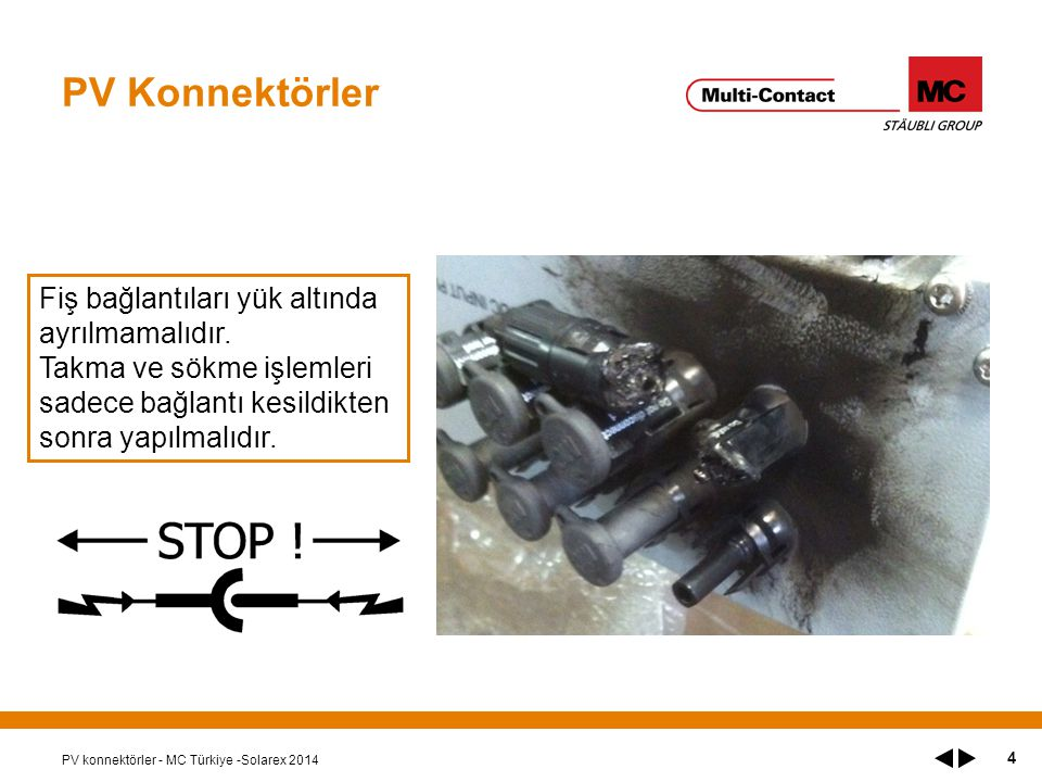 PV Konnektörler Fiş bağlantıları yük altında ayrılmamalıdır.