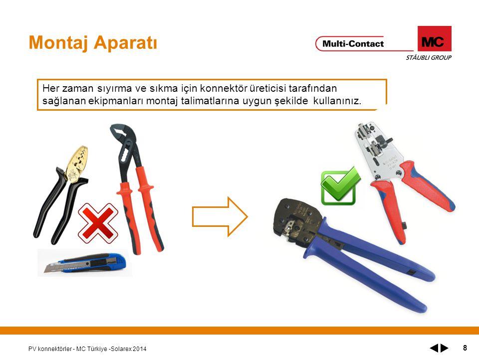 Montaj Aparatı Her zaman sıyırma ve sıkma için konnektör üreticisi tarafından sağlanan ekipmanları montaj talimatlarına uygun şekilde kullanınız.