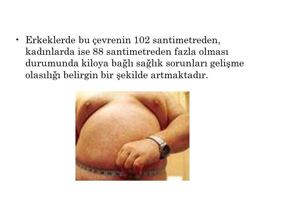 Erkeklerde bu çevrenin 102 santimetreden, kadınlarda ise 88 santimetreden fazla olması durumunda kiloya bağlı sağlık sorunları gelişme olasılığı belirgin bir şekilde artmaktadır.