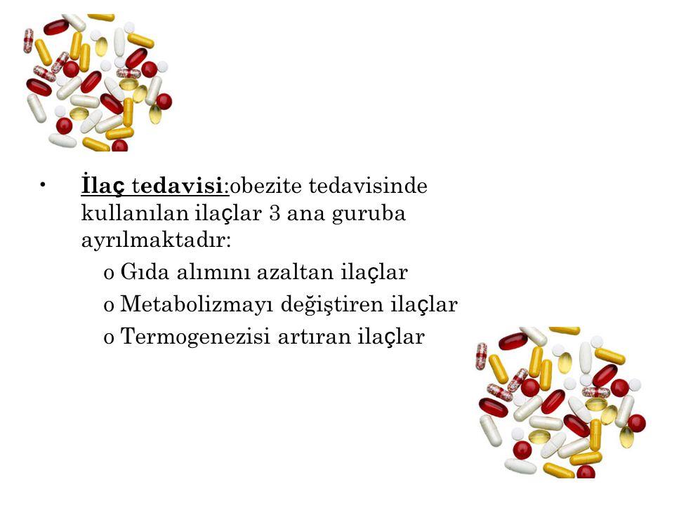 İlaç tedavisi:obezite tedavisinde kullanılan ilaçlar 3 ana guruba ayrılmaktadır: