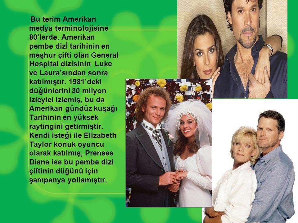 Bu terim Amerikan medya terminolojisine 80'lerde, Amerikan pembe dizİ tarihinin en meşhur çifti olan General Hospital dizisinin Luke ve Laura'sından sonra katılmıştır.