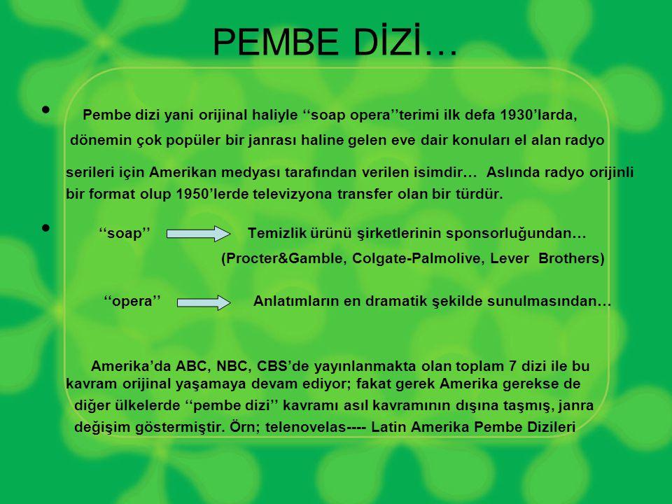 PEMBE DİZİ… Pembe dizi yani orijinal haliyle ''soap opera''terimi ilk defa 1930'larda,