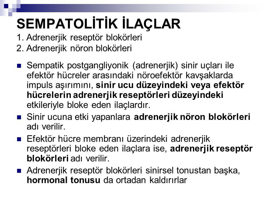 SEMPATOLİTİK İLAÇLAR 1. Adrenerjik reseptör blokörleri 2