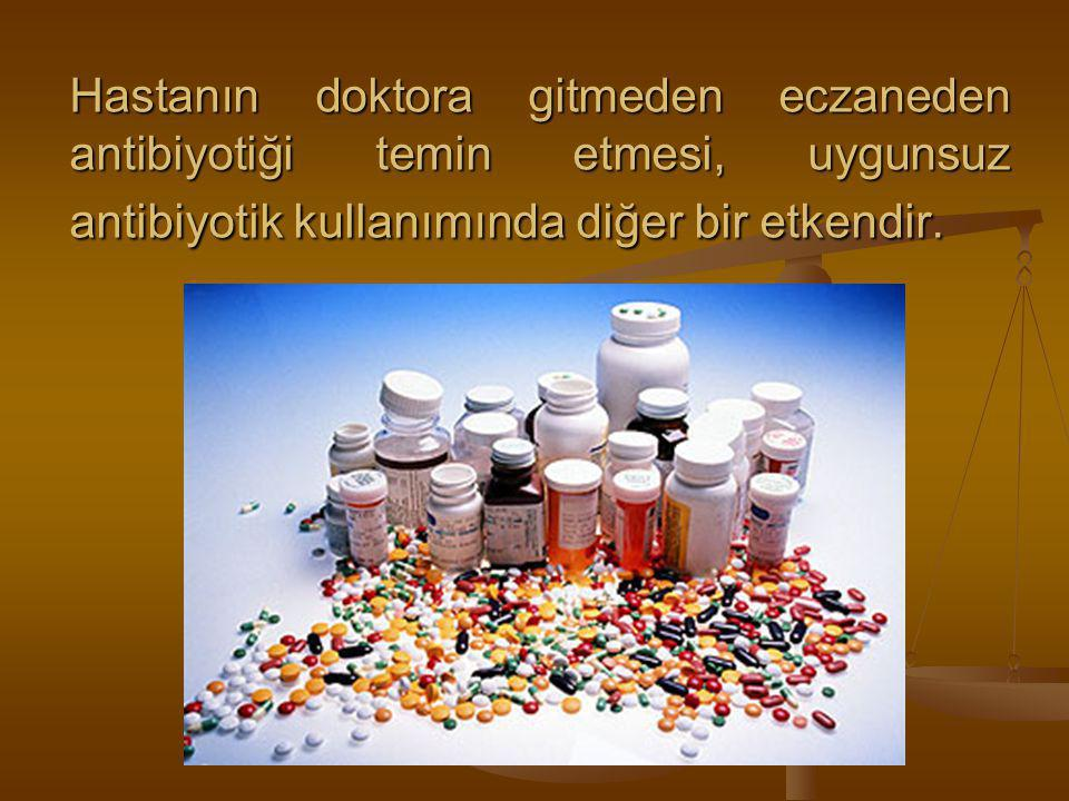 Hastanın doktora gitmeden eczaneden antibiyotiği temin etmesi, uygunsuz antibiyotik kullanımında diğer bir etkendir.