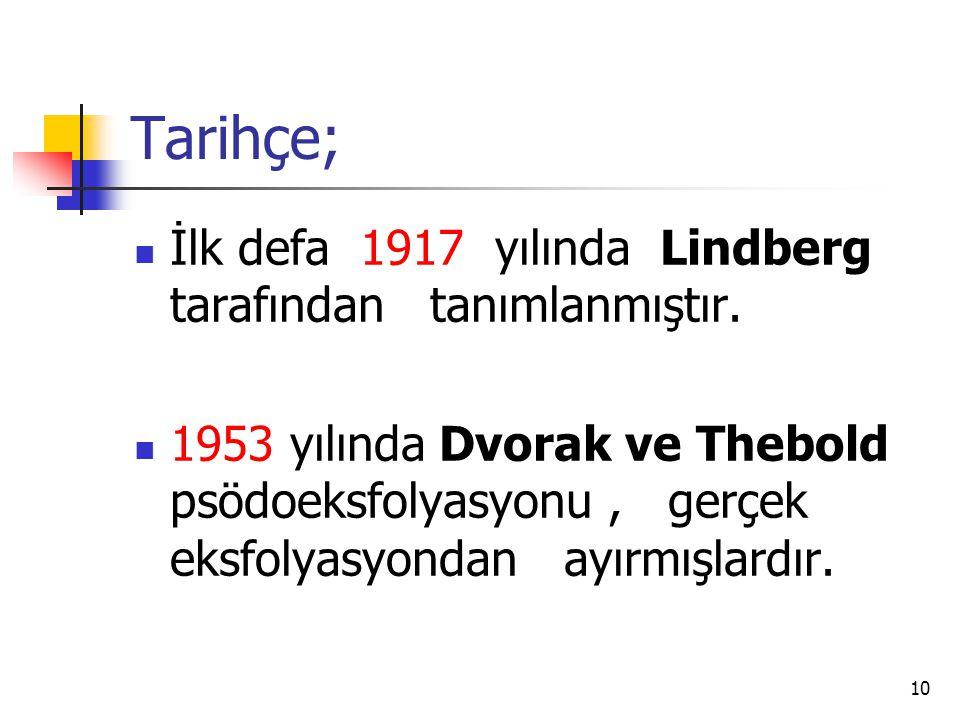Tarihçe; İlk defa 1917 yılında Lindberg tarafından tanımlanmıştır.