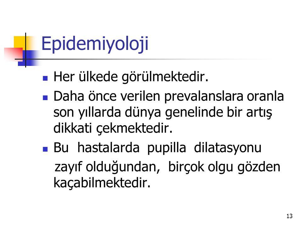 Epidemiyoloji Her ülkede görülmektedir.