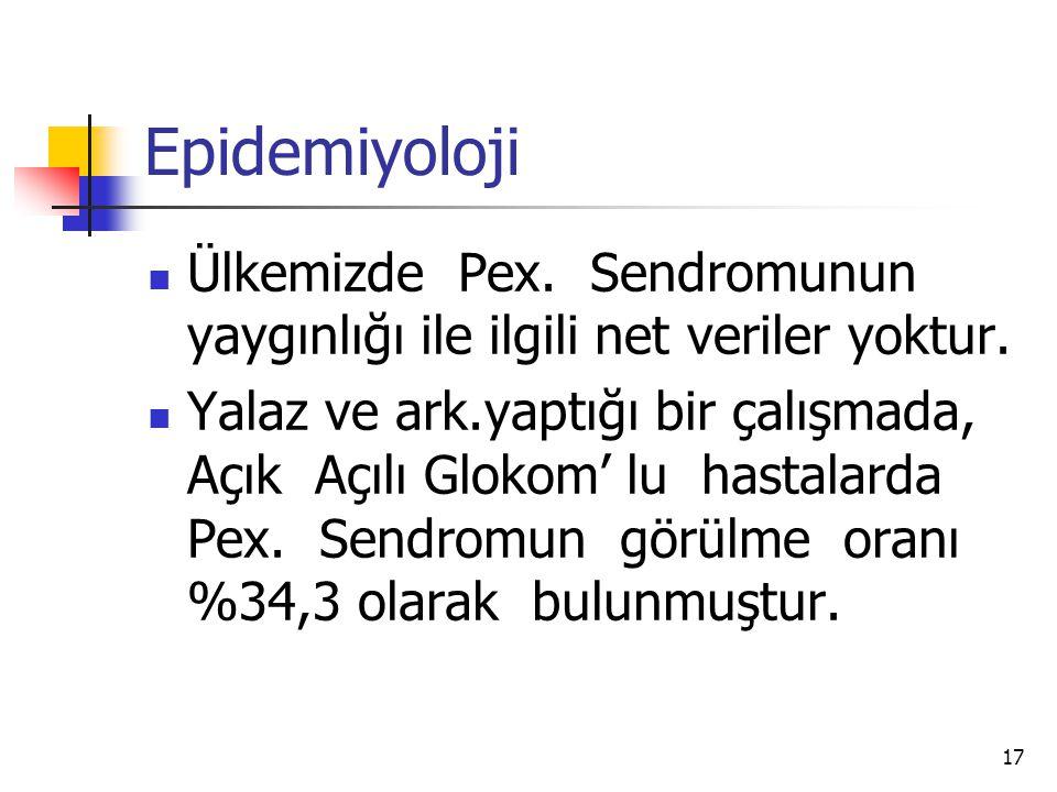 Epidemiyoloji Ülkemizde Pex. Sendromunun yaygınlığı ile ilgili net veriler yoktur.