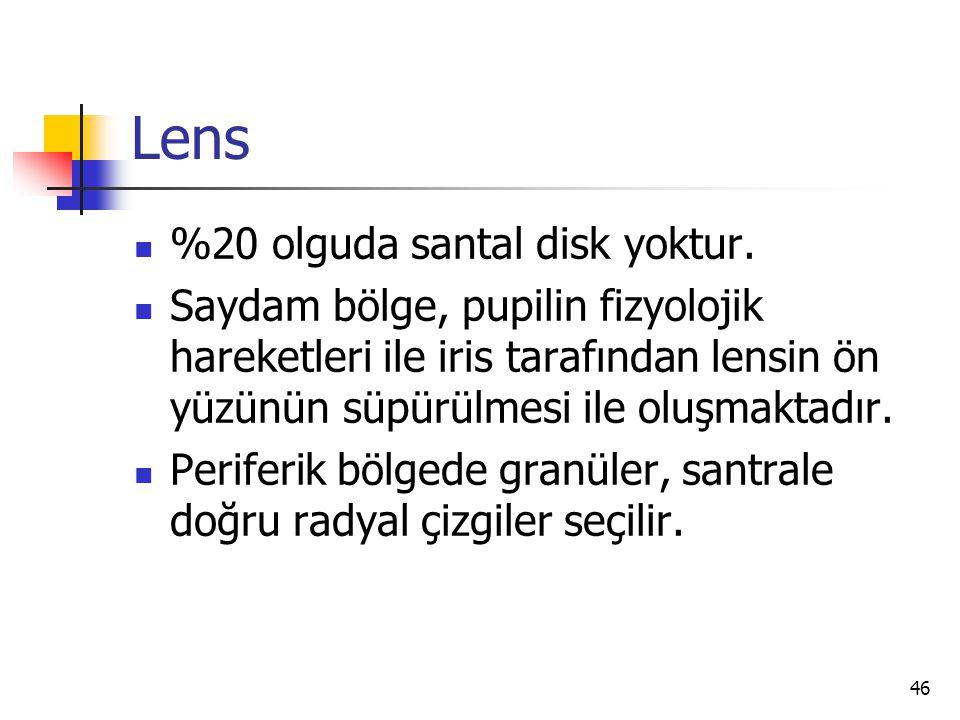Lens %20 olguda santal disk yoktur.