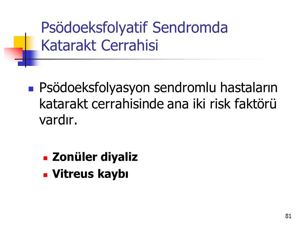 Psödoeksfolyatif Sendromda Katarakt Cerrahisi