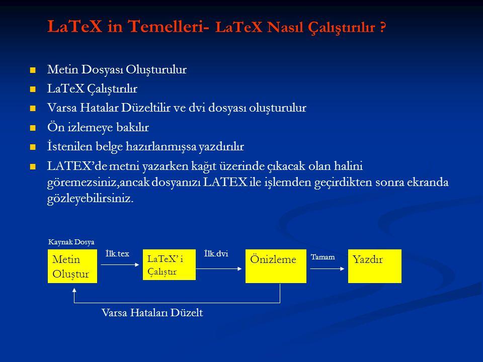 LaTeX in Temelleri- LaTeX Nasıl Çalıştırılır