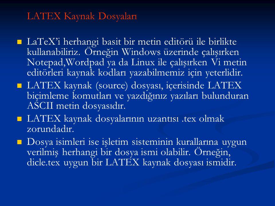 LATEX Kaynak Dosyaları