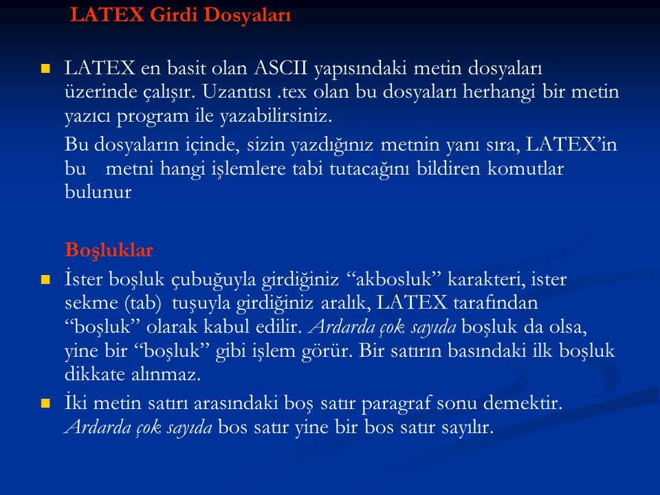 LATEX Girdi Dosyaları