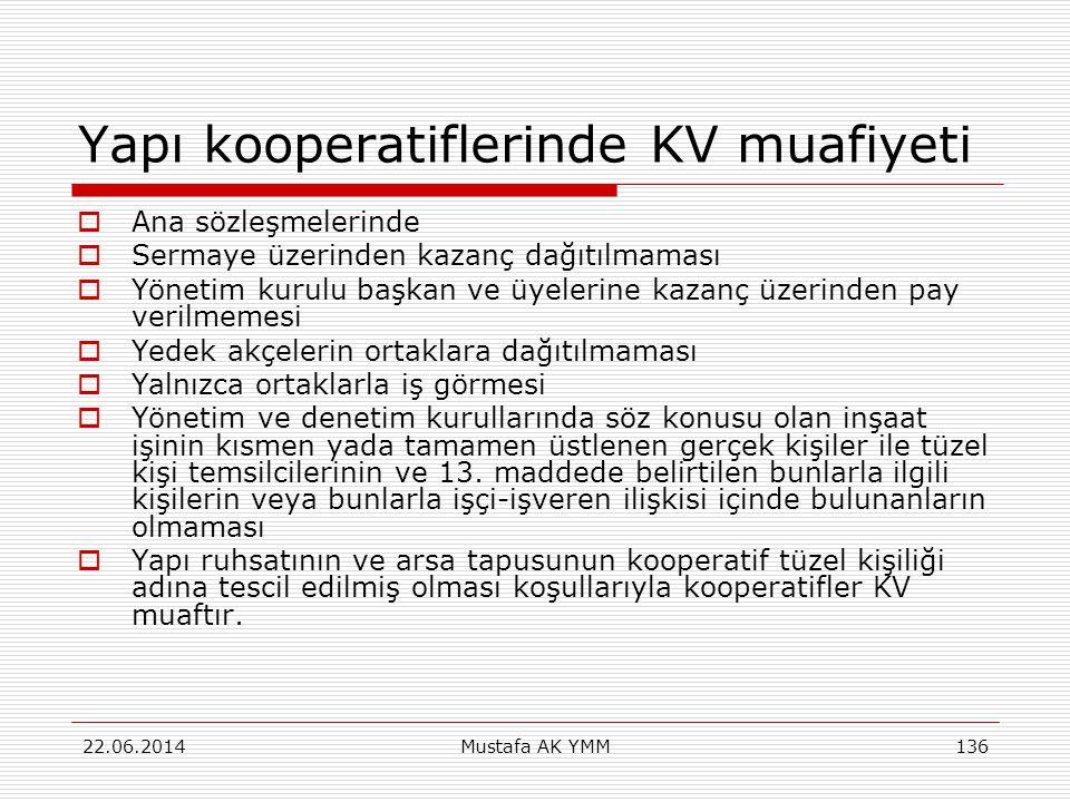 Yapı kooperatiflerinde KV muafiyeti