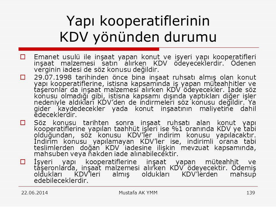 Yapı kooperatiflerinin KDV yönünden durumu