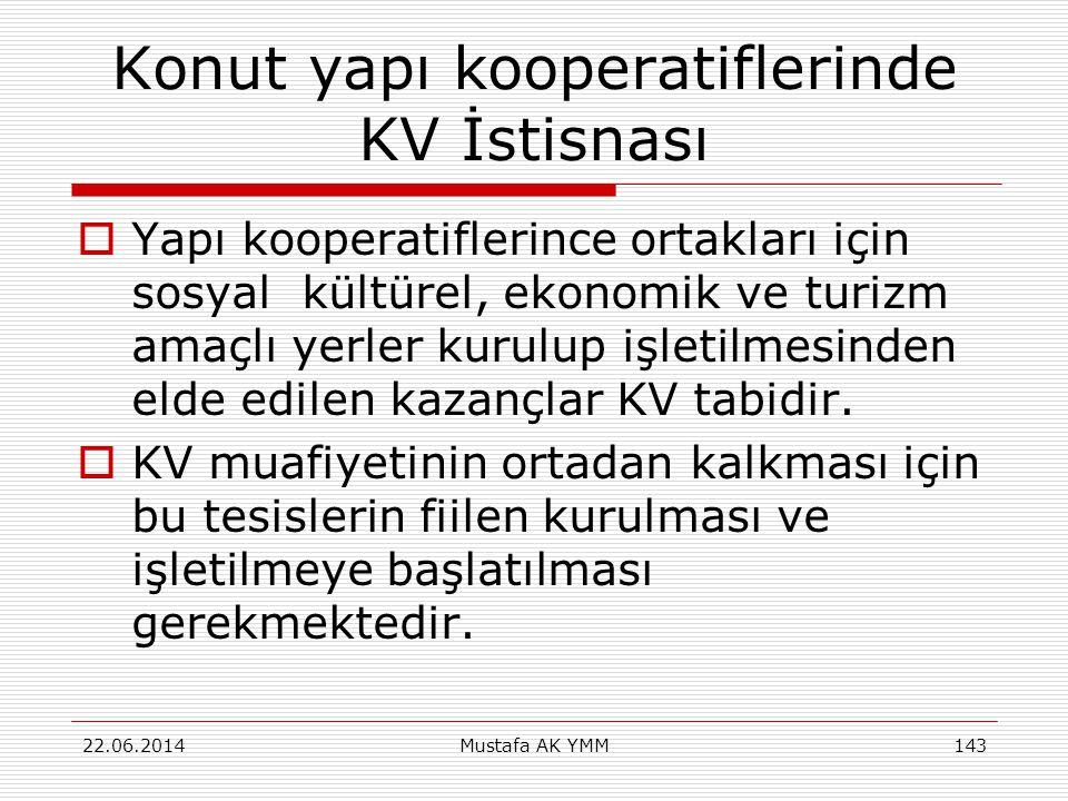 Konut yapı kooperatiflerinde KV İstisnası