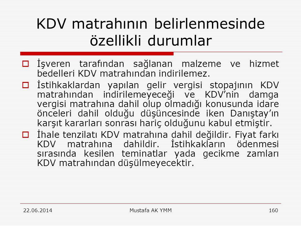 KDV matrahının belirlenmesinde özellikli durumlar