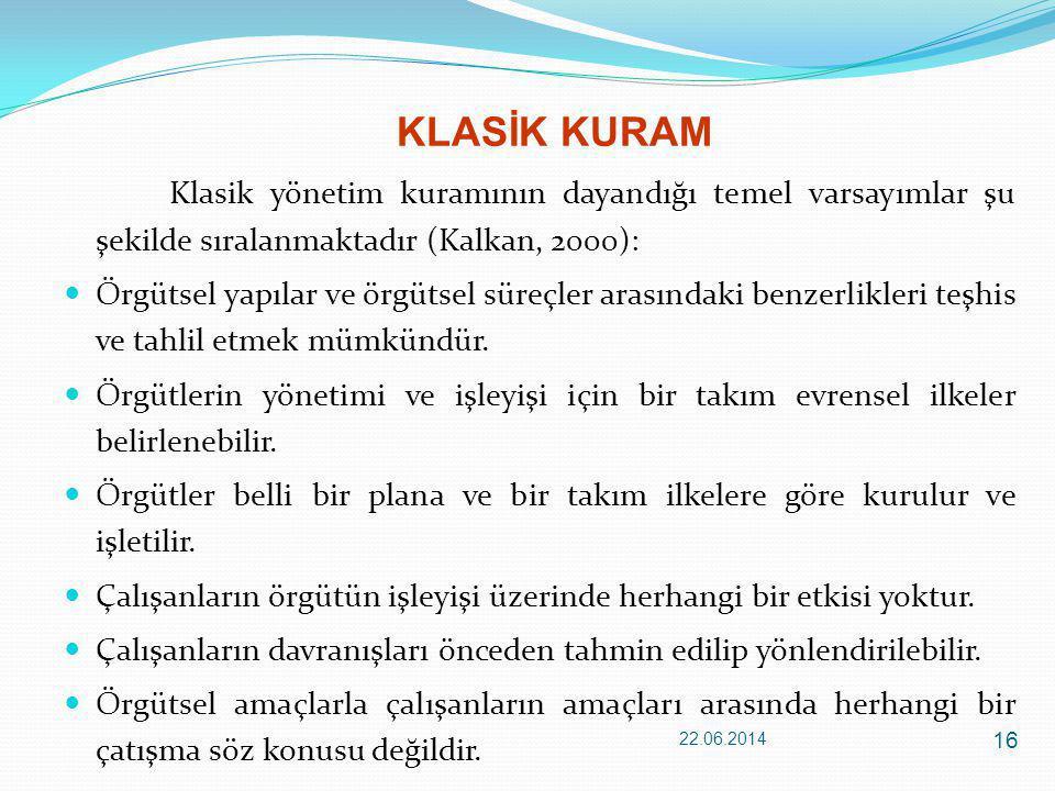 KLASİK KURAM Klasik yönetim kuramının dayandığı temel varsayımlar şu şekilde sıralanmaktadır (Kalkan, 2000):