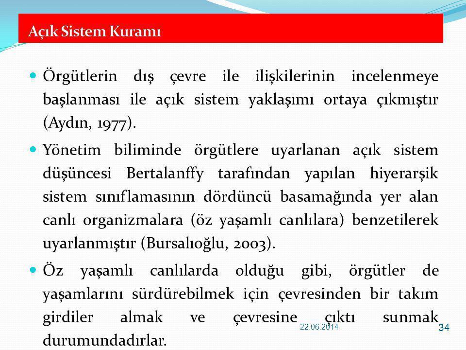Örgütlerin dış çevre ile ilişkilerinin incelenmeye başlanması ile açık sistem yaklaşımı ortaya çıkmıştır (Aydın, 1977).
