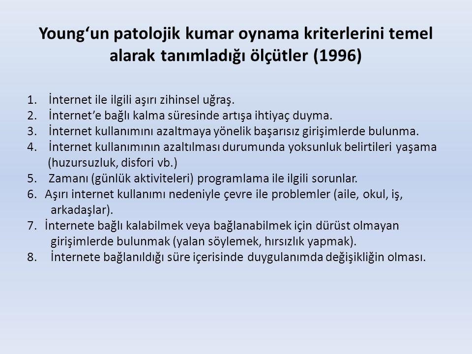 Young'un patolojik kumar oynama kriterlerini temel alarak tanımladığı ölçütler (1996)