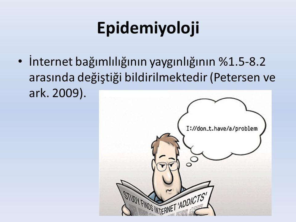 Epidemiyoloji İnternet bağımlılığının yaygınlığının %1.5-8.2 arasında değiştiği bildirilmektedir (Petersen ve ark.
