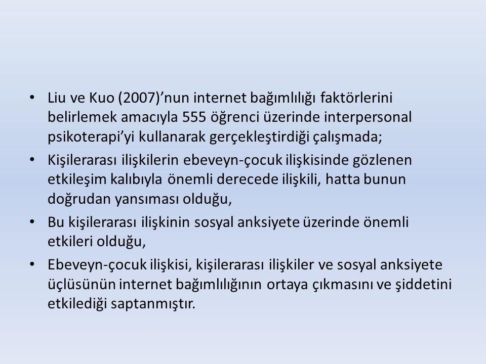 Liu ve Kuo (2007)'nun internet bağımlılığı faktörlerini belirlemek amacıyla 555 öğrenci üzerinde interpersonal psikoterapi'yi kullanarak gerçekleştirdiği çalışmada;